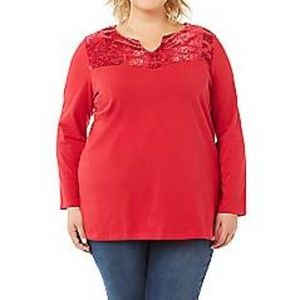 Catherines Red Velour Dressy Holiday Top 1X 20W